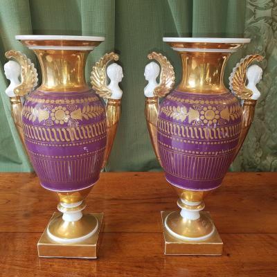 Paire De Vases En Porcelaine De Paris Debut XIX°siècle.