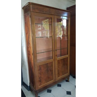 Louis XVI Style Mahogany Showcase-bookcase