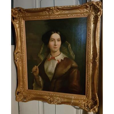 Portrait De Femme Par Victor Vervloet , Signé Et Daté De1855.