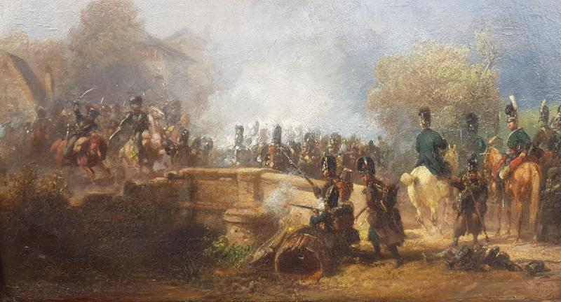 Alois Bach : Troupes Bavaroises Combattant Auprès d' Un Pont.-photo-3