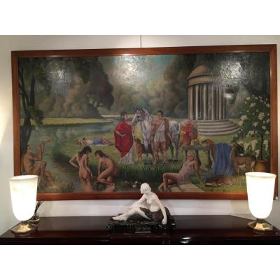 Grande Peinture Art Deco Signées R.gazanhes .1946
