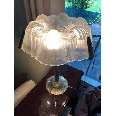 Grande Lampe  Art Deco En Verre PressÉ SignÉe FranÇis Hubens.