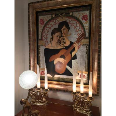 Deux Femmes à la guitare Peinture