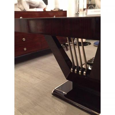 Table Art Deco En Ebene De Macassar De Jean Pascaud Avec Six Chaises.