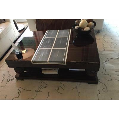 Table Basse En Ebene De Macassar ,ivoire Et Galuchat Modele De Ruhlmann.