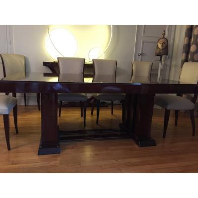 Table De Salle à Manger Signée Majorelle Avec 8 Chaises.