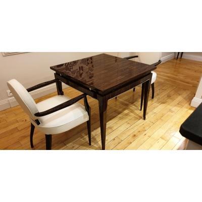 Table De Salle à Manger  En ébène De Macassar De C.krass Avec Deux Allonges