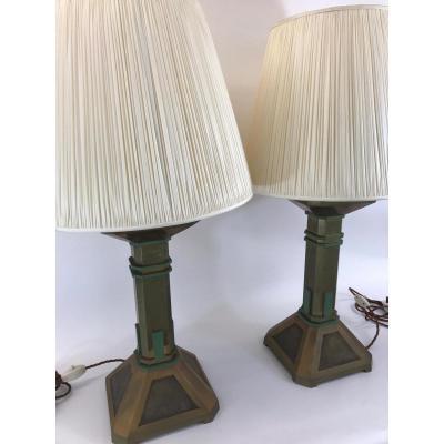 Paire De Lampes  En Bronze De Hector Guimard