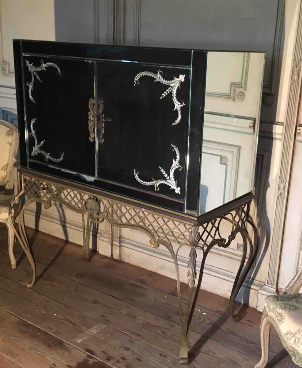 Meuble Bar En Miroir Sur Console En Fer Forg 1940 Bars Anciens # Meuble Fer Forger