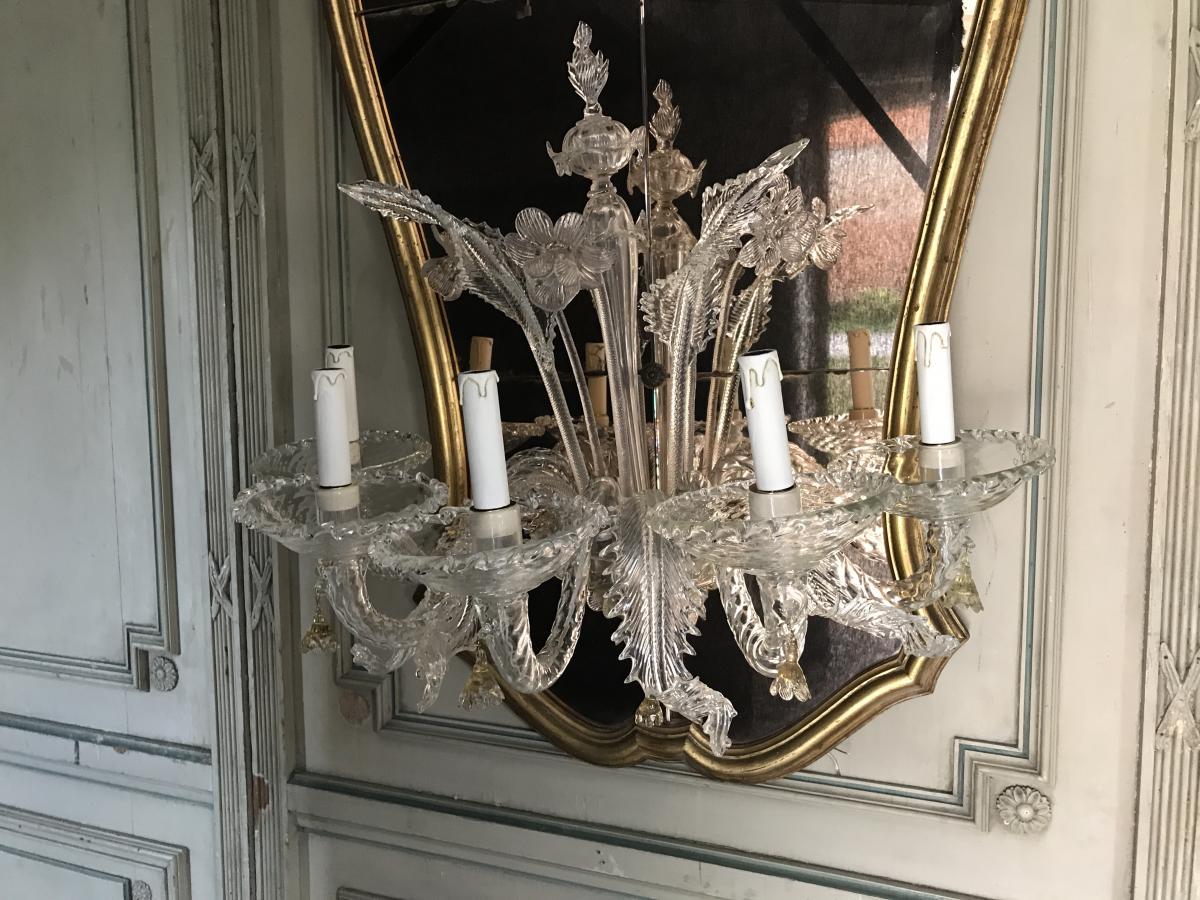 Miroir v nitien garni d 39 un demi lustre de murano miroirs for Miroir venitien murano