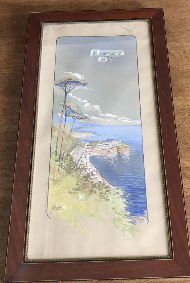 Affiche De Marguerite Gamy Biplan Voisin Survolant Monte Carlo