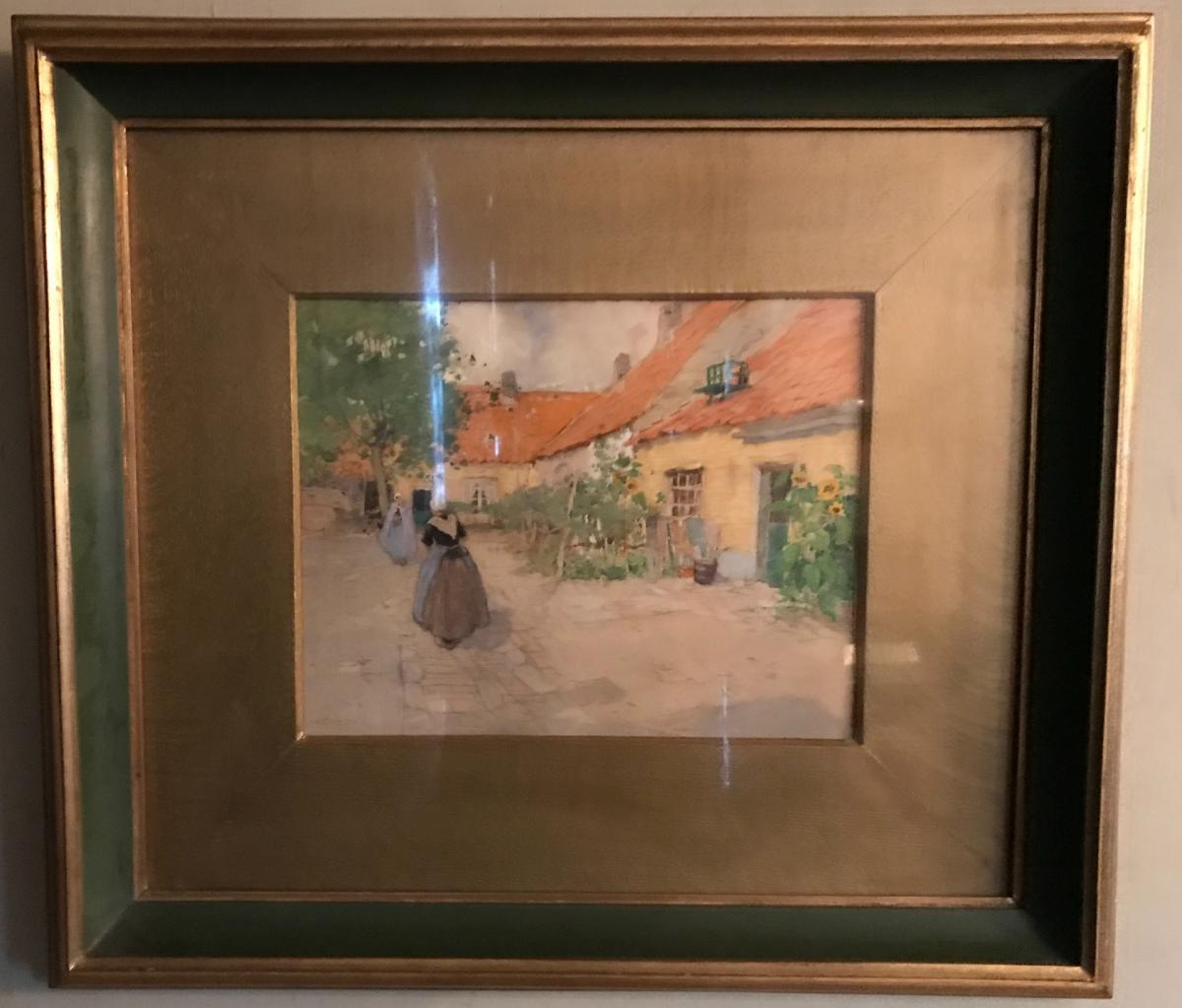 """Dessin Aquarelle """"scène De Village"""" Henri Cassiers"""