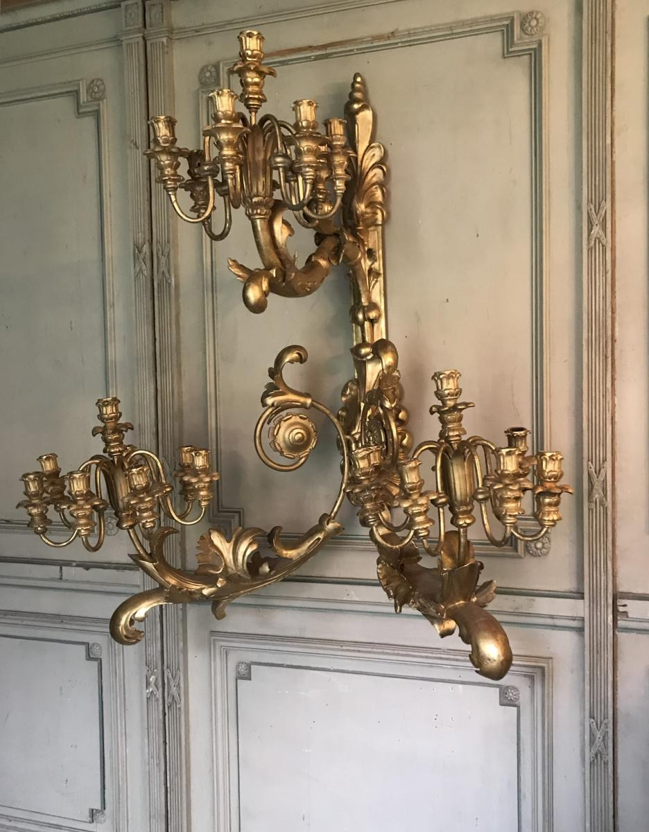 Pair Of Monumental Sconces In Golden Wood