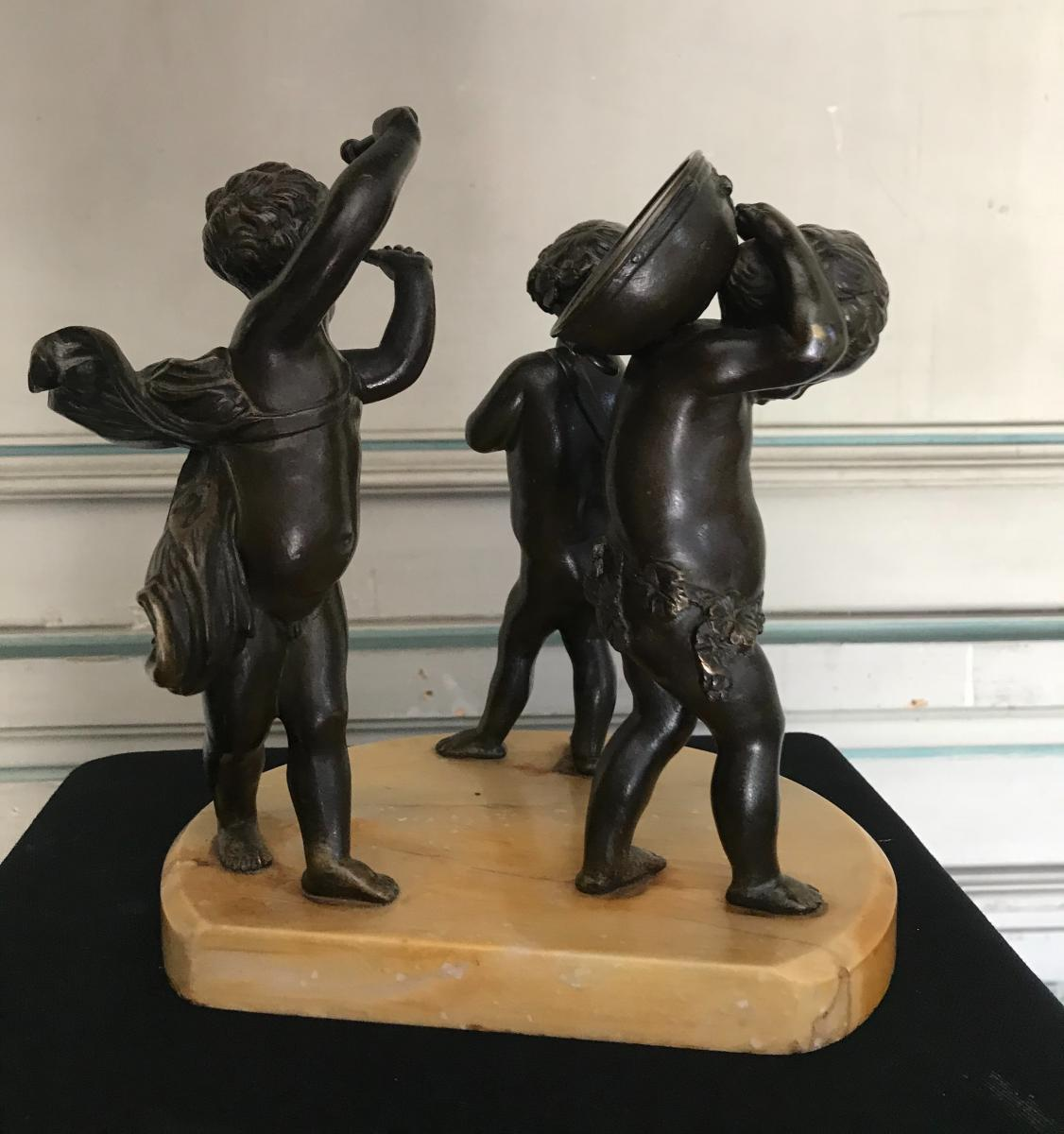 Three Musicians Angels, Bronze Sculptures On Marble Base-photo-2