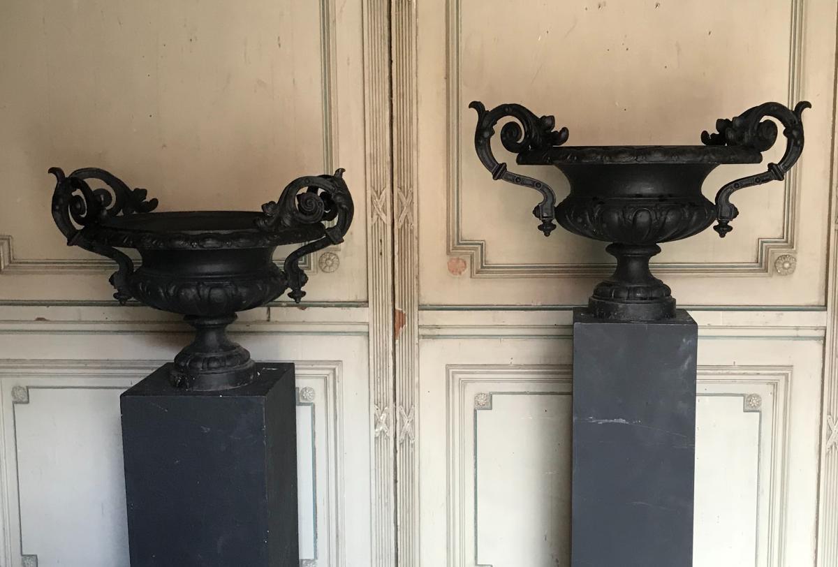 Paire De Vasques En Fonte De Jardin - antiquités du jardin ...