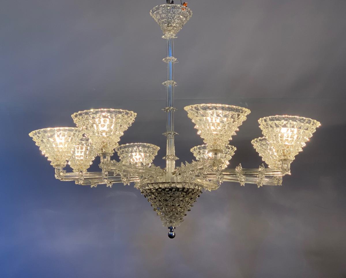 Lustre Murano De Barovier, 8 Bras De Lumière