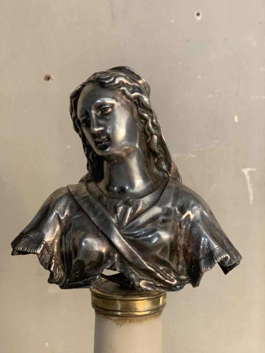 Buste De La Vierge En Argent, Colonne En Marbre -photo-2