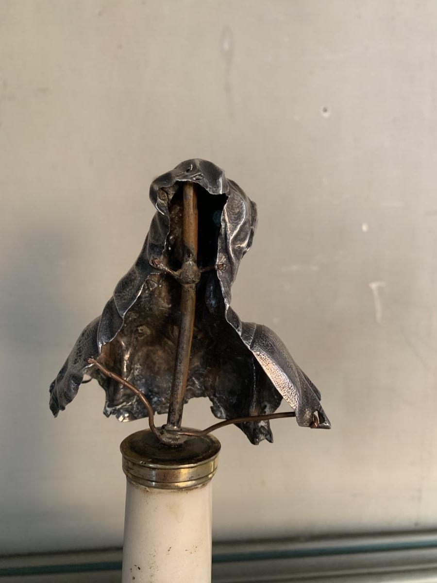 Buste De La Vierge En Argent, Colonne En Marbre -photo-4