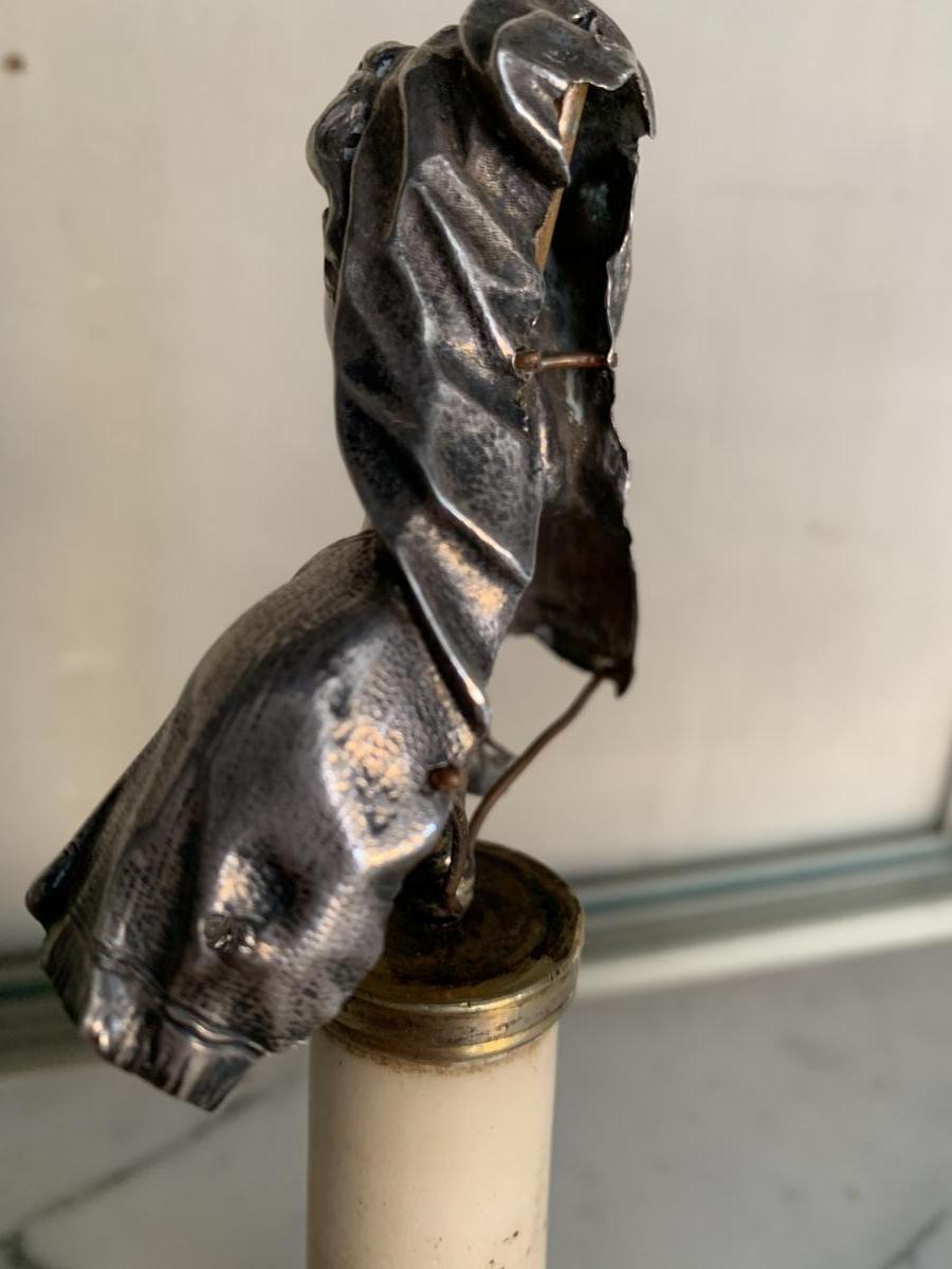 Buste De La Vierge En Argent, Colonne En Marbre -photo-1