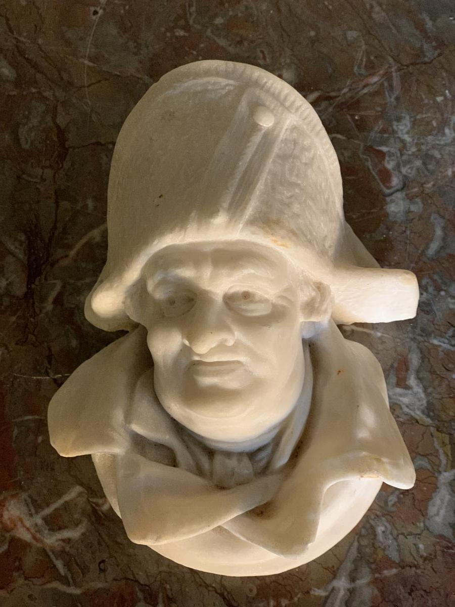 Marble Sculpture, Head Of Man In Hat