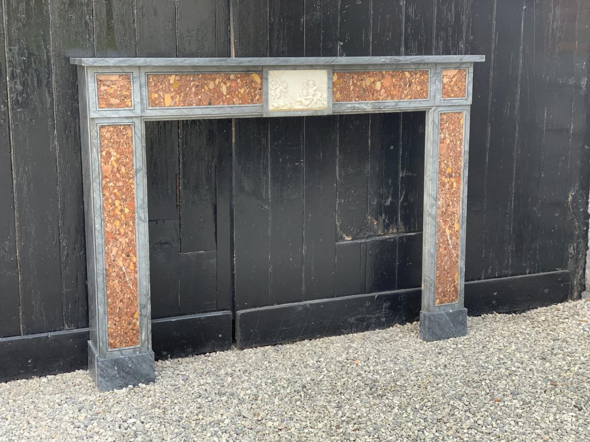 Turquin Blue Marble Fireplace, Alep Brecchia And White Statuary