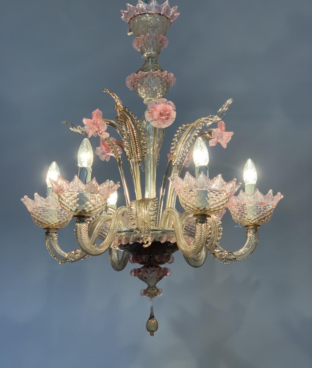 Lustre En Verre De Venise Rose Et Mordoré, Six Bras De Lumière