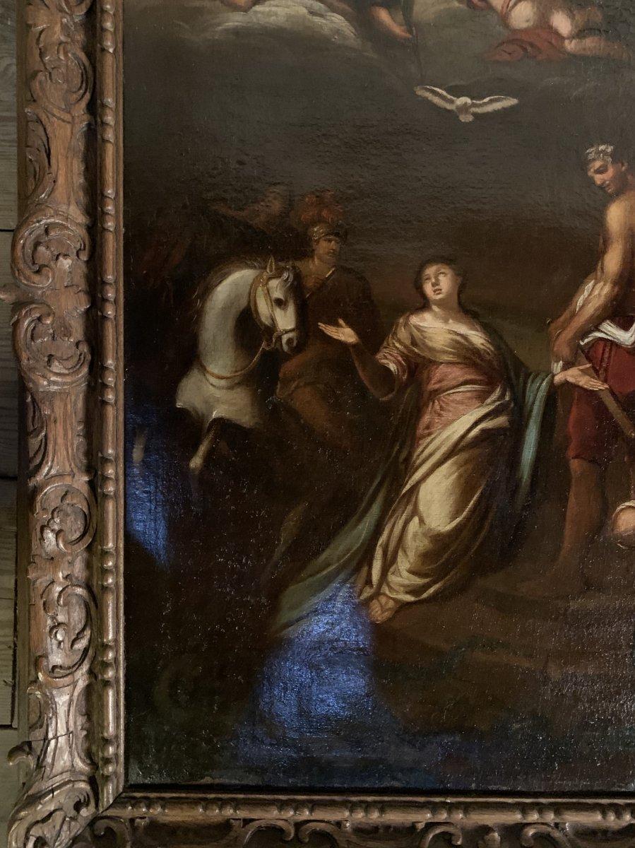Huile Sur Toile, Scène Religieuse, Cadre En Bois Sculpté, XVIIIéme Siècle -photo-1