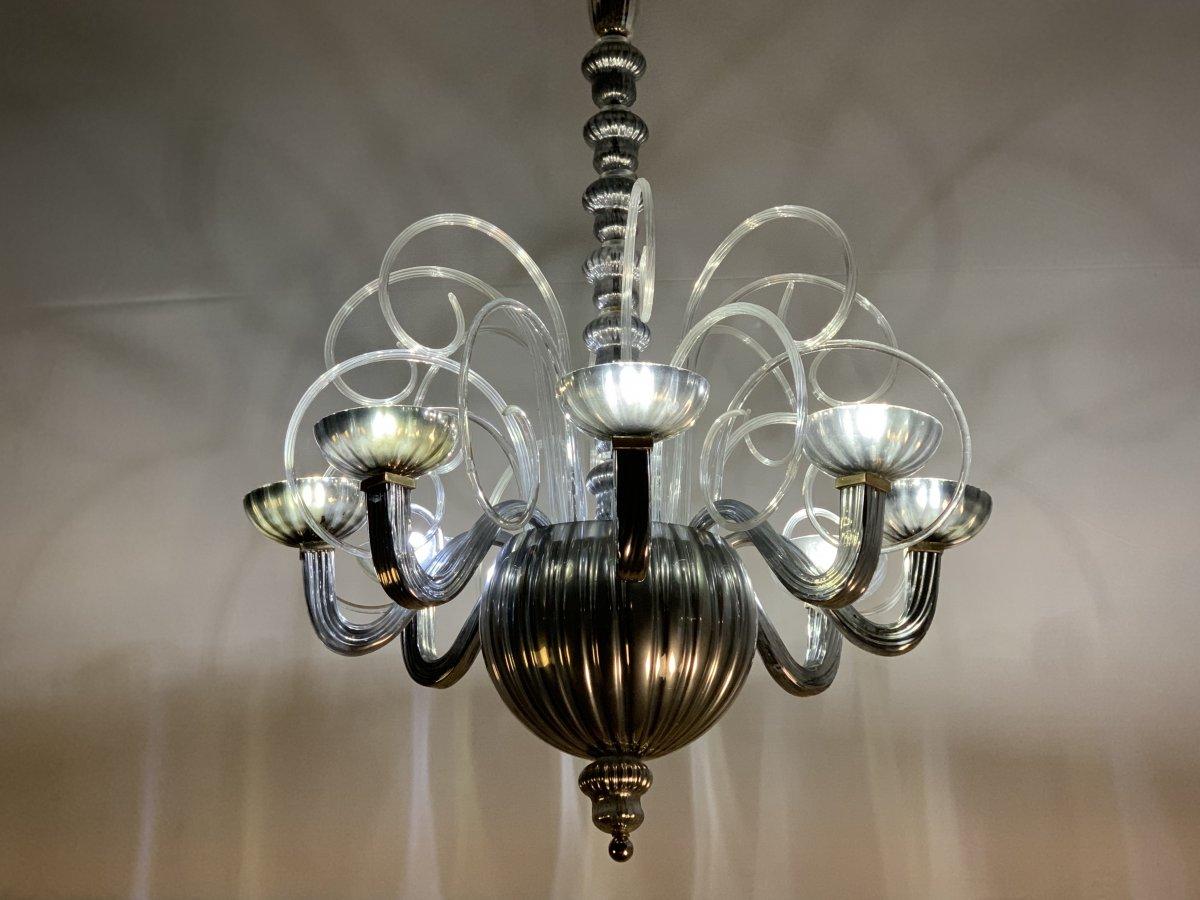 Lustre En Verre De Murano Argenté 8 Bras De Lumière