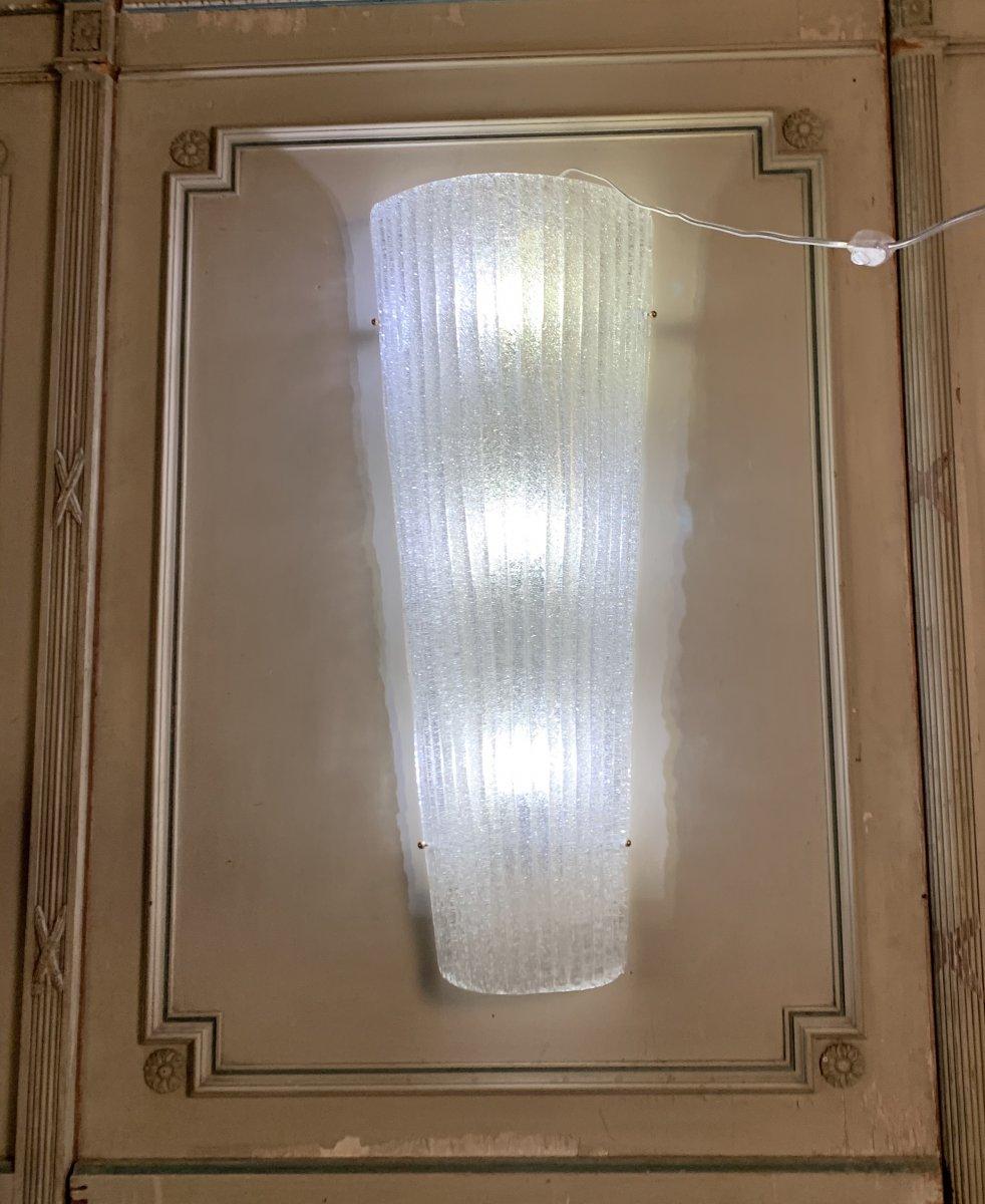 Paire D'appliques En Verre De Murano 93,5cm De Haut de style Art Deco