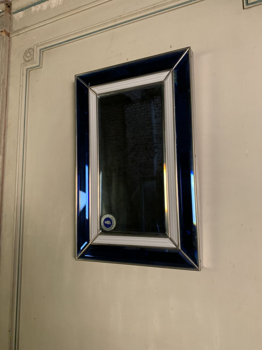 Pair Of Mirrors, Blue And White Glass Circa 1950 Italy