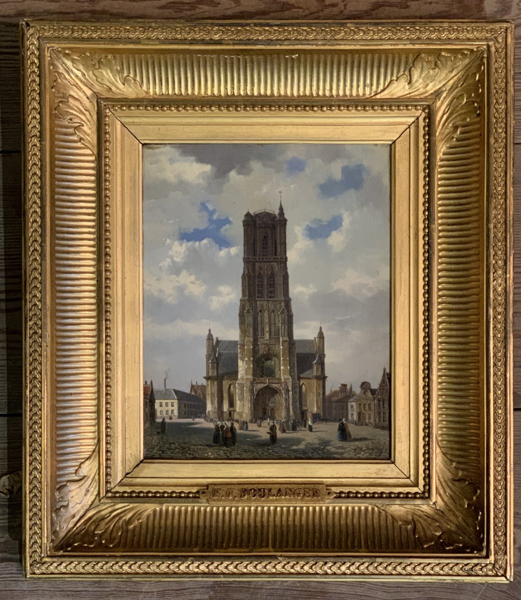 Oil On Panel, View Of The Saint Bavon Cathedral In Gent , F. Boulanger