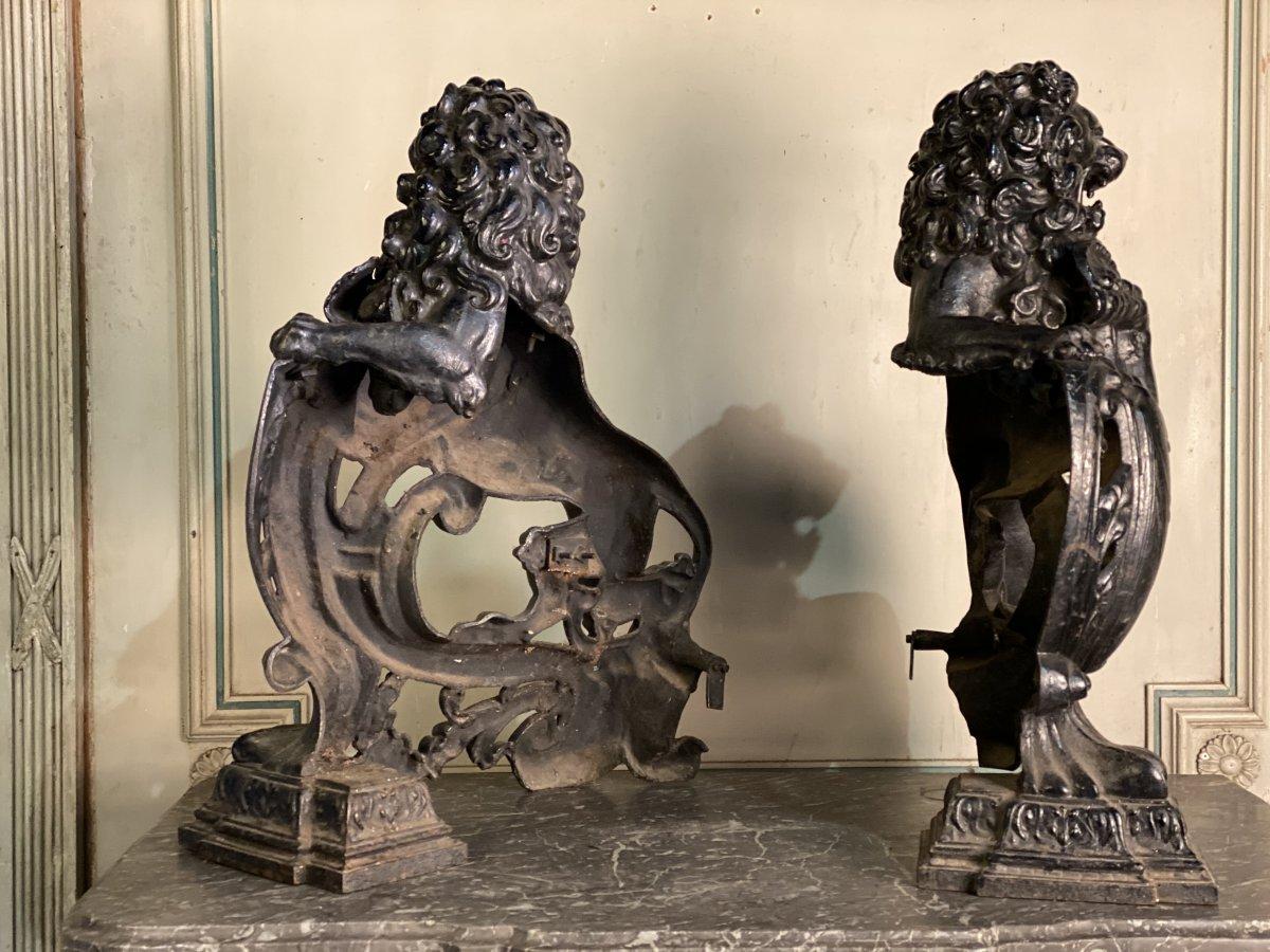 Pair Of Cast Iron Andirons-photo-2