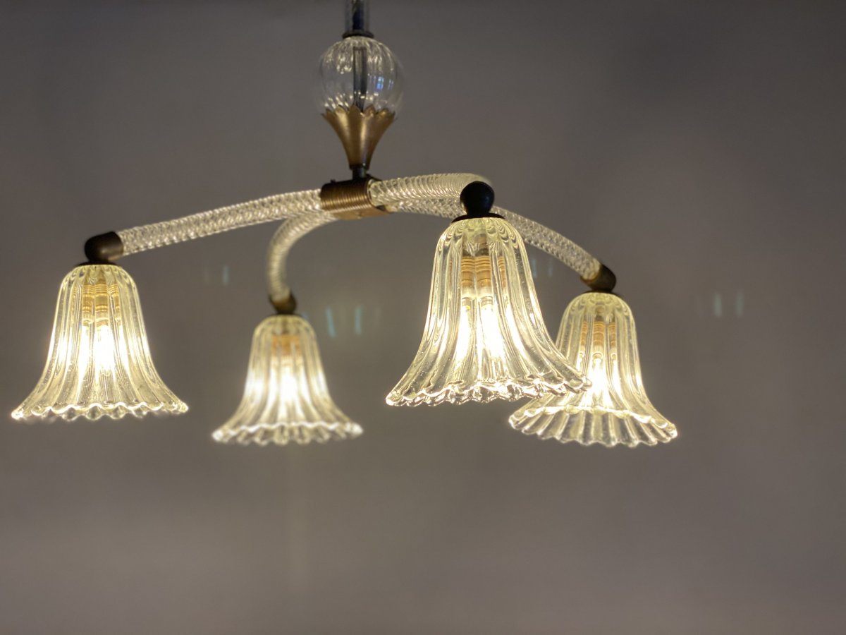Lustre En Verre De Murano 4 Bras De Lumière Vers 1940