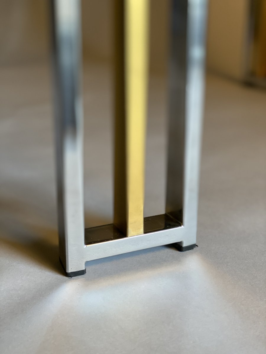 Dining Table In Chrome And Matte Golden Brass Around 1980-photo-3