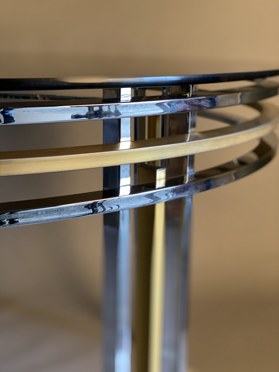 Dining Table In Chrome And Matte Golden Brass Around 1980-photo-4