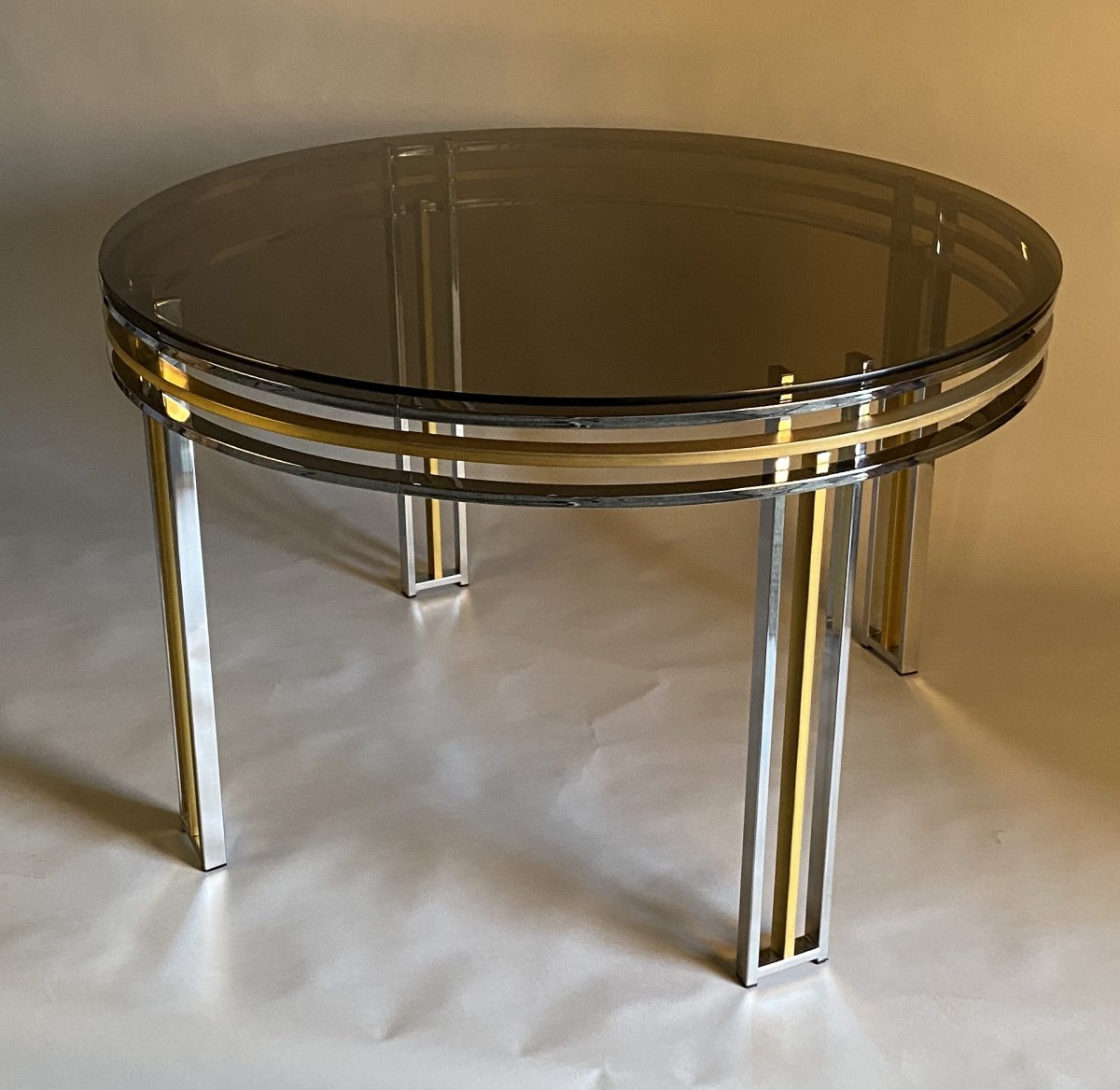 Dining Table In Chrome And Matte Golden Brass Around 1980-photo-2