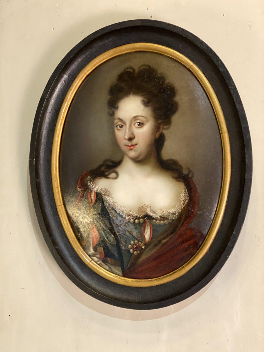 Huile Sur Cuivre, Portrait Féminin, Fin XVII