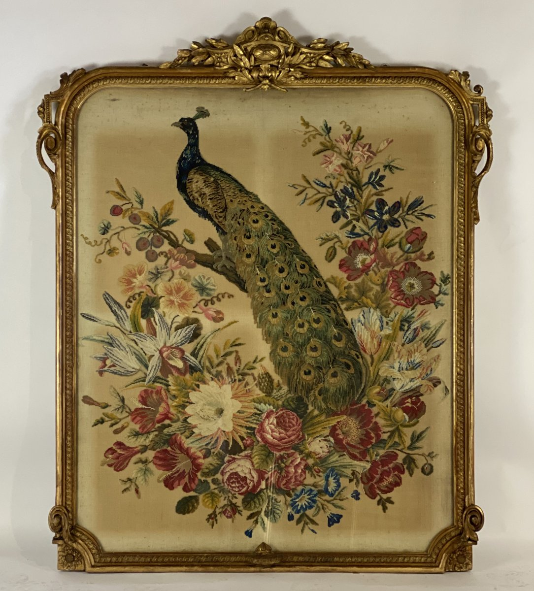 Cross Stitch Tapestry In A Louis XVI Style Frame Around 1900