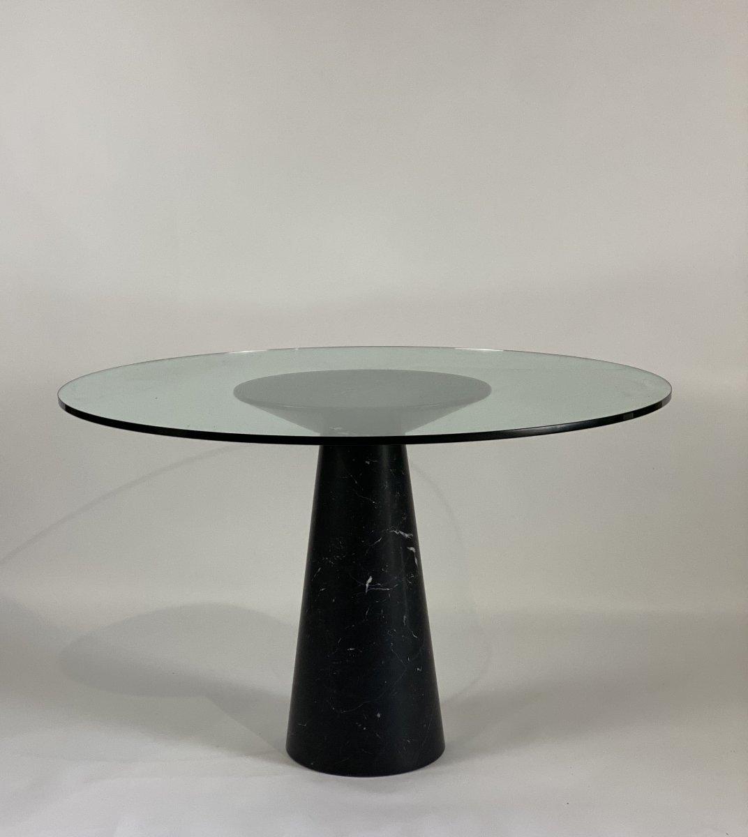Table De Salle à Manger En Marbre Marquina Et Verre, Mangiarotti Vers 1970