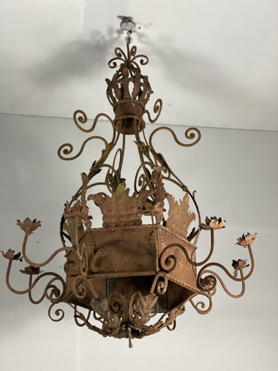 Pair Of Large Rusty Wrought Iron Chandeliers