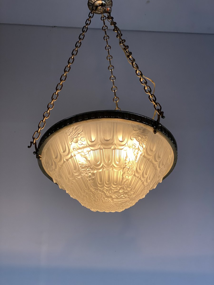 Lustre Art Deco En Verre Moulé Et Bronze Argenté -photo-1