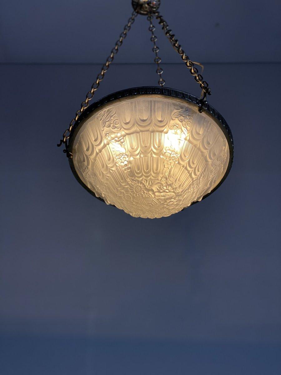 Lustre Art Deco En Verre Moulé Et Bronze Argenté -photo-3