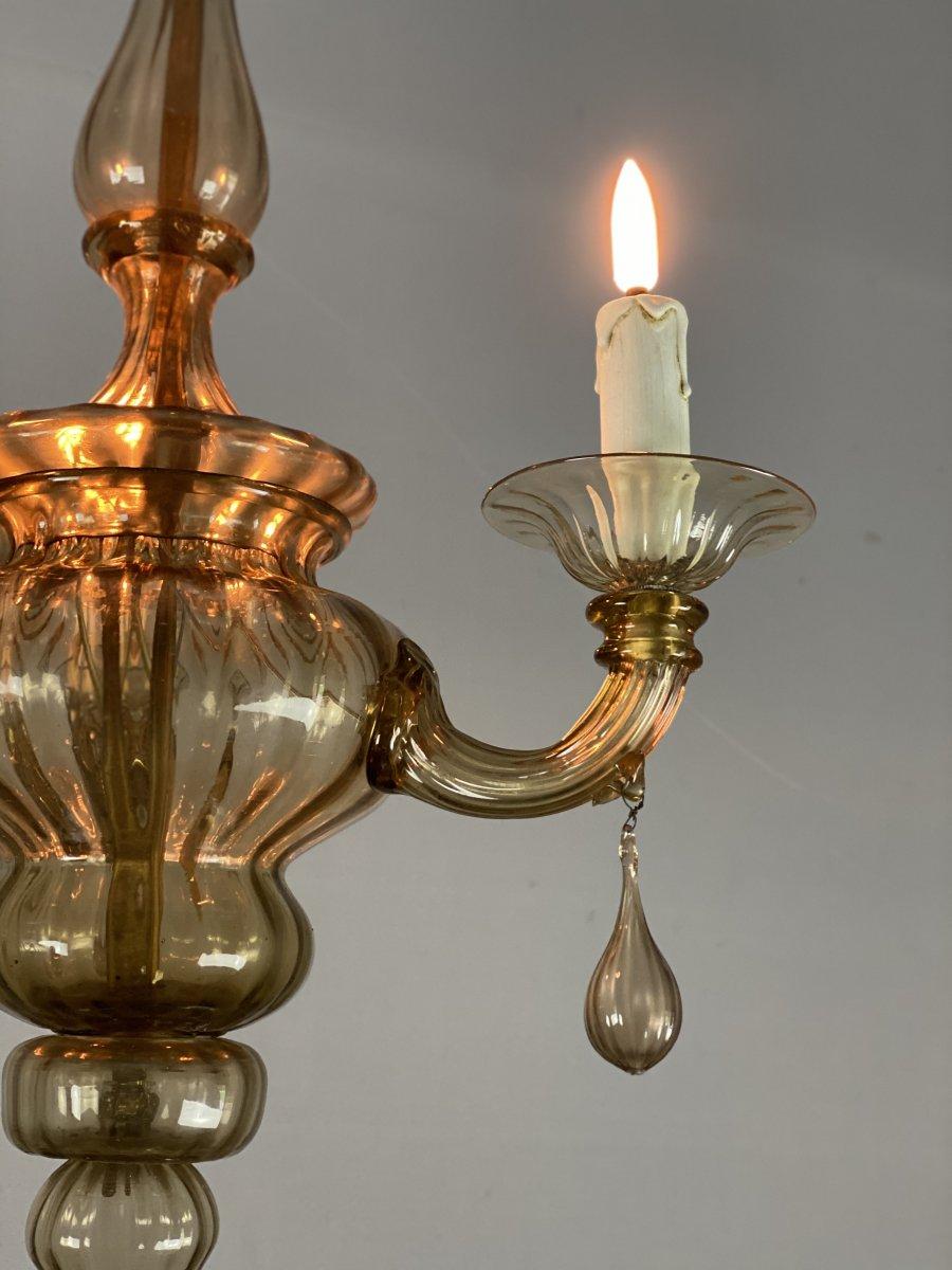 Lanterne En Verre De Murano Mordoré, Trois Bras De Lumière -photo-1