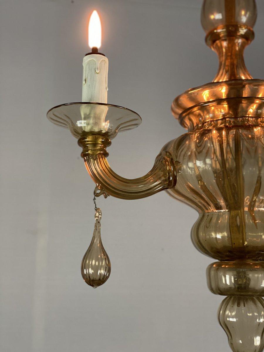 Lanterne En Verre De Murano Mordoré, Trois Bras De Lumière -photo-2