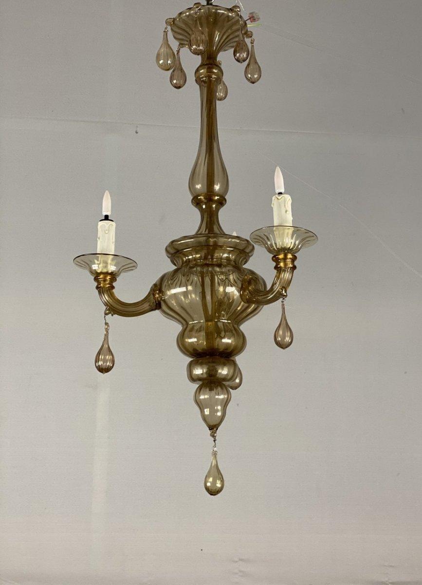 Lanterne En Verre De Murano Mordoré, Trois Bras De Lumière -photo-3
