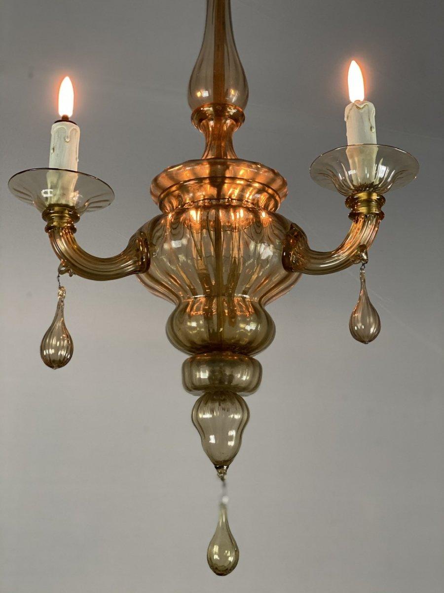 Lanterne En Verre De Murano Mordoré, Trois Bras De Lumière -photo-4