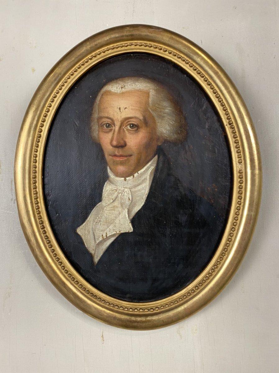 Portrait Masculin, Huile Sur Toile Marouflée Sur Carton Début XIXéme Siècle
