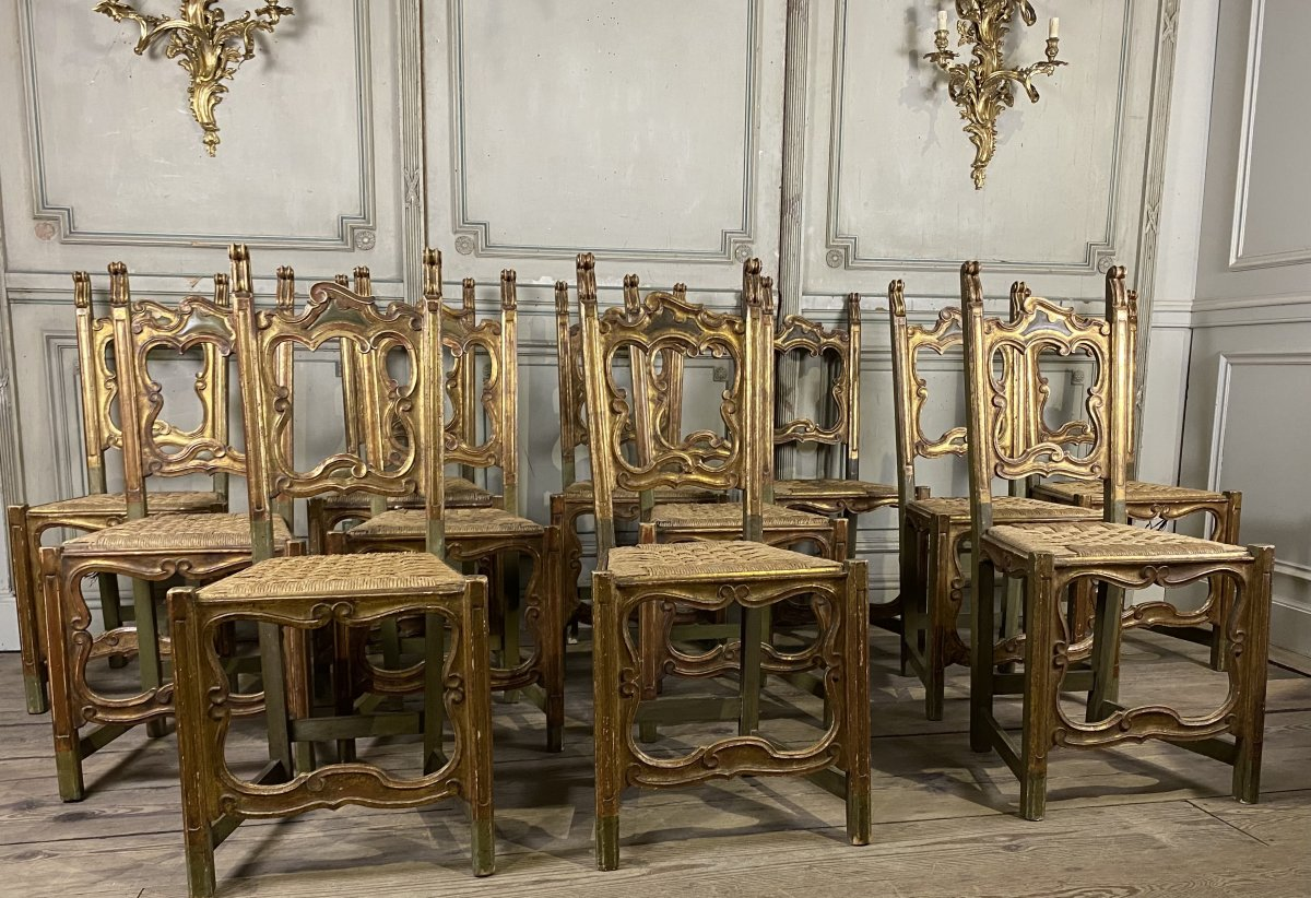 Suite Of 12 Carved Wood Chairs, Italy