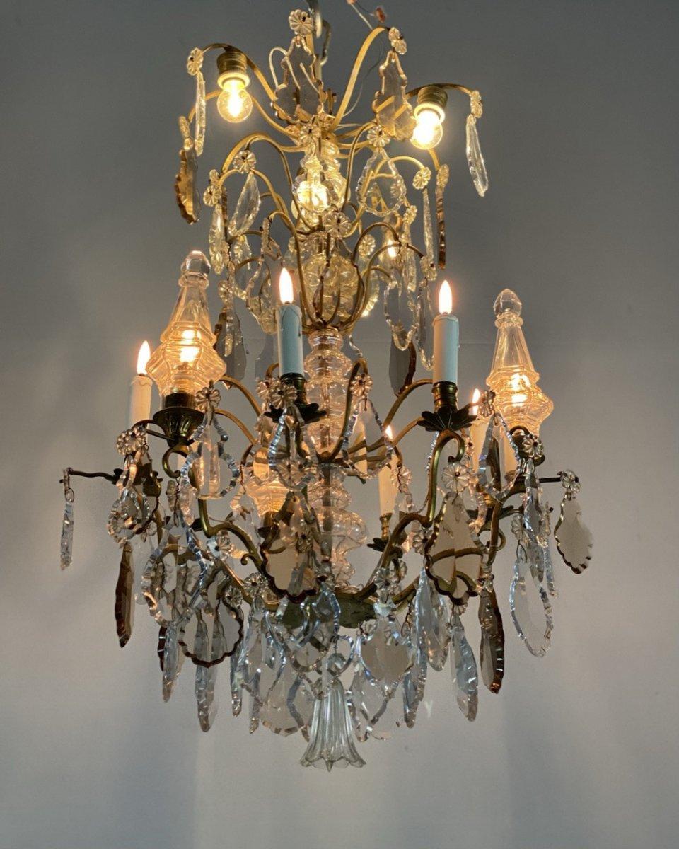 Lustre 12 feux de lumière Bronze Et Pampilles Vers 1900