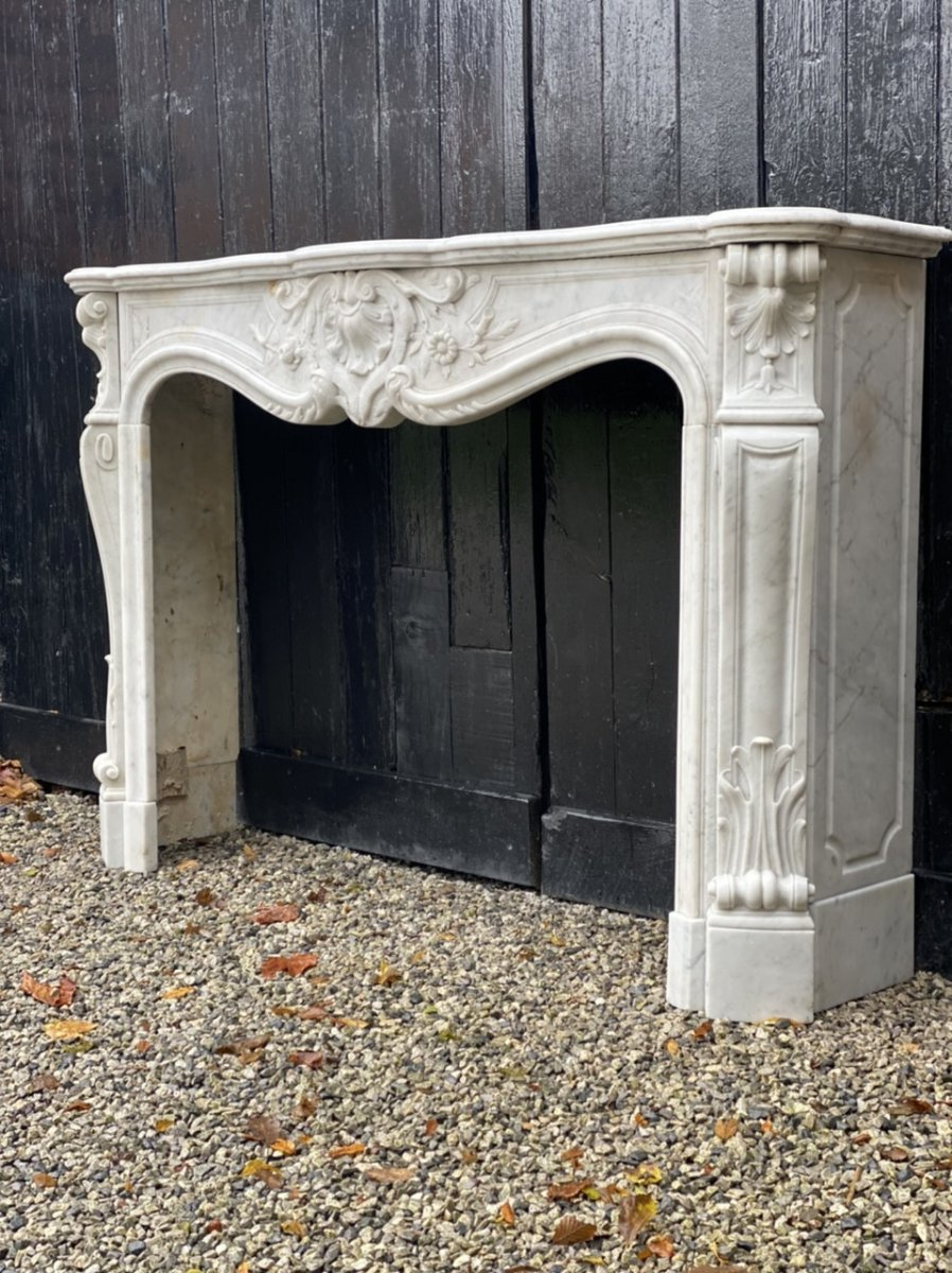 Louis XV Style Fireplace In White Carrara Marble